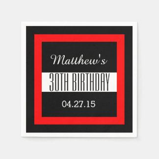 30th Birthday Party Solid Colored Square Frame VZ4 Disposable Napkins