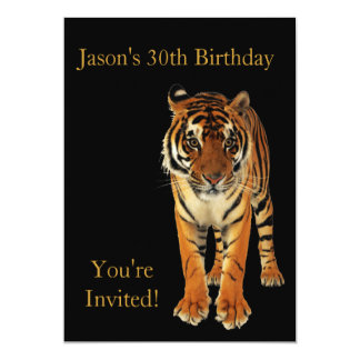 30th Birthday Party Tiger On Black Card