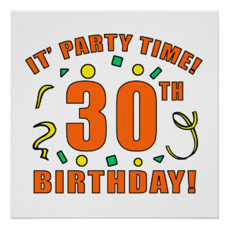 30th Birthday Party Time Poster