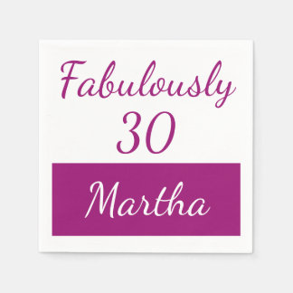 30th Birthday Personalize Fabulously 30 pink Paper Napkins