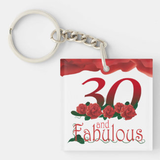 30th Birthday photo frame red rose keychain