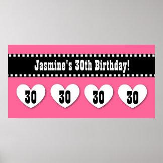 30th Birthday Pink Black Hearts Banner Custom V10 Poster
