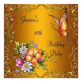 """30th Birthday Pink Floral Butterfly Yellow Gold 2 5.25"""" Square Invitation Card"""