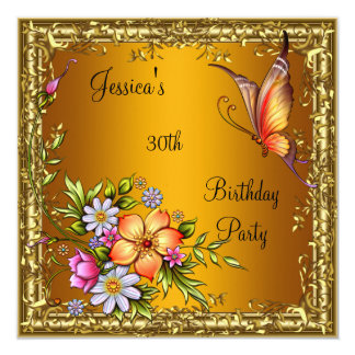 """30th Birthday Pink Floral Butterfly Yellow Gold 3 5.25"""" Square Invitation Card"""
