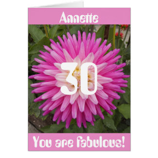 30th Birthday Pink Flower Personalized Card