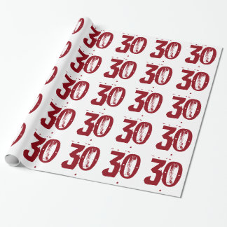 30th Birthday, red text on white. Wrapping Paper