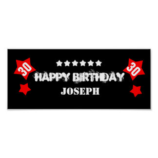 30th Birthday Star Banner Custom Name V30S STARS Poster