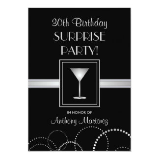 "30th Birthday Surprise Party Silver & Black 5"" X 7"" Invitation Card"