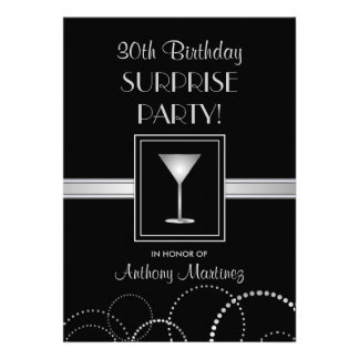 30th Birthday Surprise Party Silver & Black Announcement