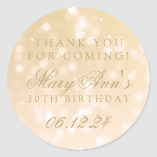 30th Birthday Thank You Gold Bokeh Sparkle Lights Classic Round Sticker