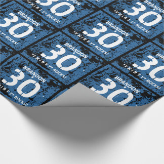 30th Birthday Thirty Rocks BLUE Grunge Pattern F3Z Wrapping Paper