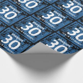 30th Birthday Thirty Rocks BLUE Grunge Pattern F3Z Wrapping Paper