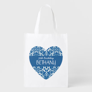 30th Birthday Trendy Blue Damask A01 Reusable Grocery Bag
