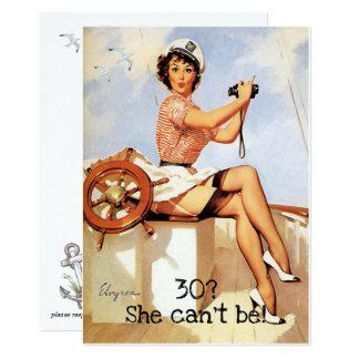 30th Birthday, Vintage, Sexy Pin Up Girl, Custom Card