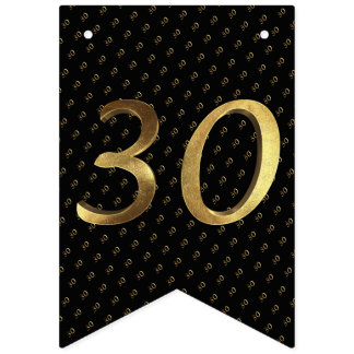 30th Birthday Wedding Anniversary Black and Gold Bunting Flags