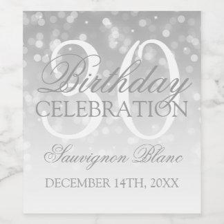30th Birthday Wine Silver Bokeh Sparkle Lights Wine Label
