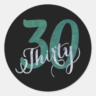 30th Green   Black Birthday Anniversary Party   Classic Round Sticker