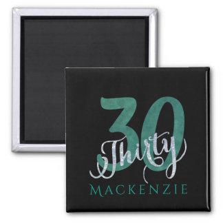 30th Green | Black Birthday Anniversary Party | Magnet