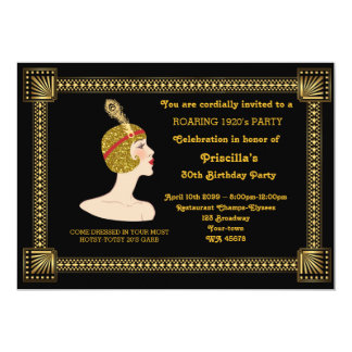 30th or any,Birthday Party,Gatsby chic,black gold Card
