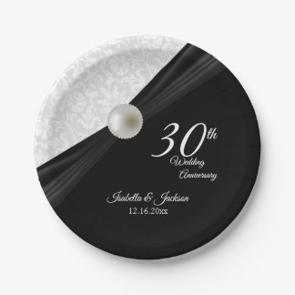 30th  Pearl & Black Wedding Anniversary Design Paper Plate
