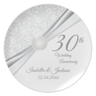 30th Pearl Wedding Anniversary Keepsake Design Plate