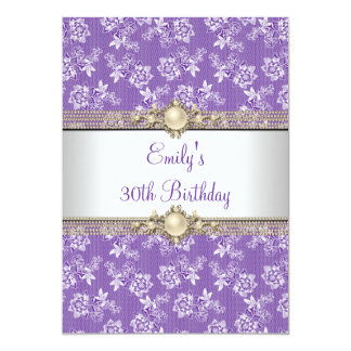 30th Purple Floral Pearl Birthday Party Card