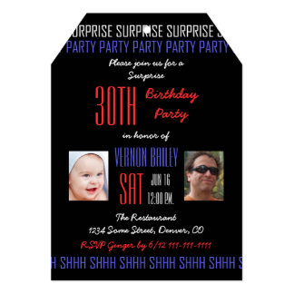 30th Surprise Birthday Party for Men Your Photos Card