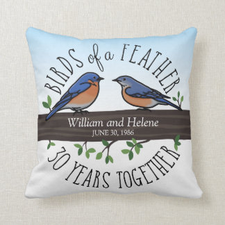 30th Wedding Anniversary, Bluebirds of a Feather Throw Pillow