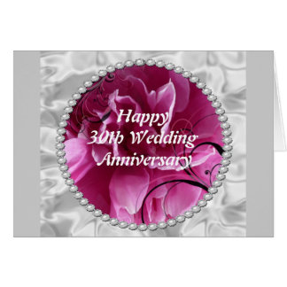 30th Wedding Anniversary Card, Pearls & Pink Flora Card