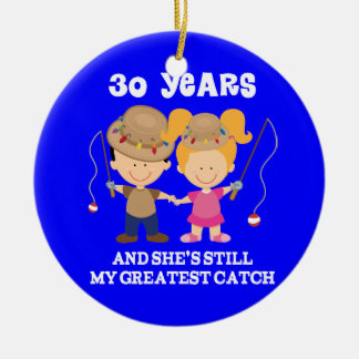 30th Wedding Anniversary Funny Gift For Him Round Ceramic Ornament
