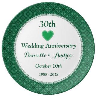 30th Wedding Anniversary Green Pattern V10E Plate