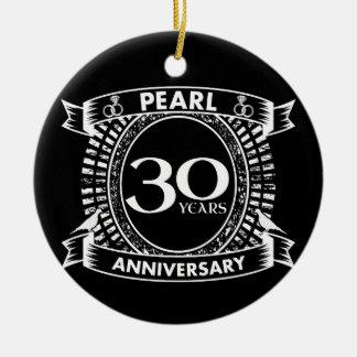 30th wedding anniversary pearl crest ceramic ornament