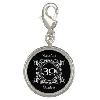 30th wedding anniversary pearl crest charms