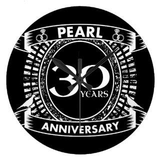 30th wedding anniversary pearl crest large clock