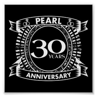 30th wedding anniversary pearl crest poster