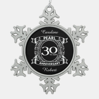 30th wedding anniversary pearl crest snowflake pewter christmas ornament