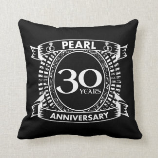 30th wedding anniversary pearl crest throw pillow