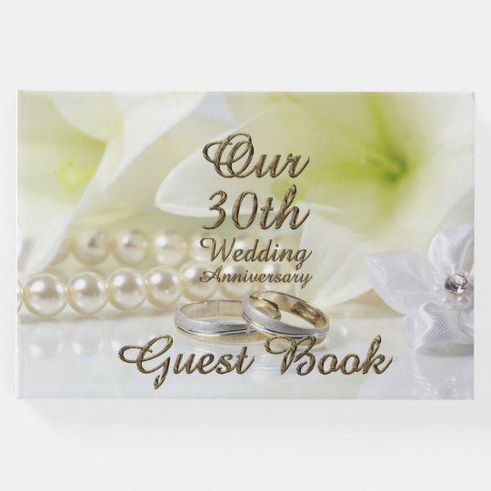 30th Wedding Anniversary Pearl Gold Typography Guest Book