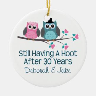 30th Wedding Anniversary Personalized Gift Idea Ceramic Ornament