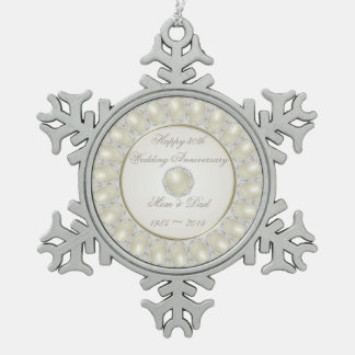 30th Wedding Anniversary Pewter Snowflake Ornament