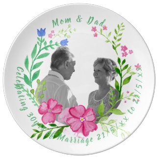 30th Wedding Anniversary PHOTO Commemorative Named Plate