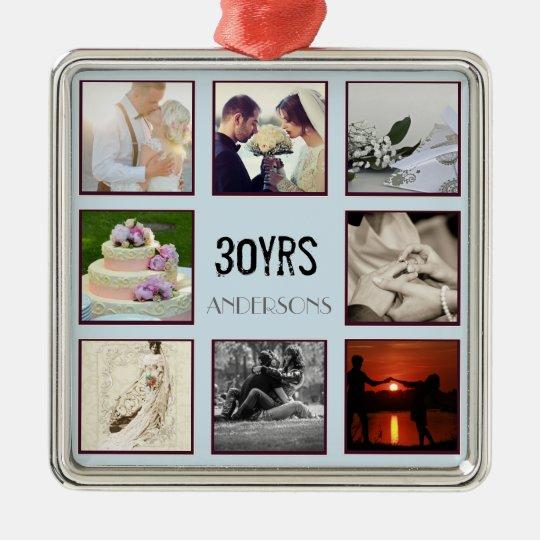 30th Wedding Anniversary Photo Instagram Custom Metal Ornament