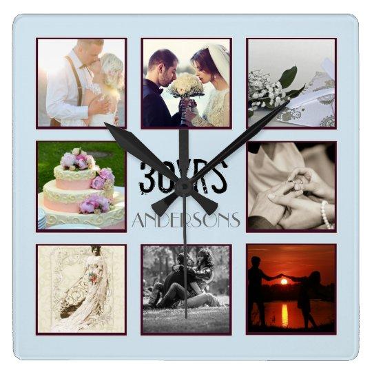 30th Wedding Anniversary Photo Instagram Custom Square Wall Clock