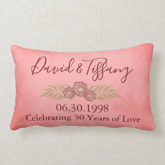 30th Wedding Anniversary Pink Personalize Floral Lumbar Pillow