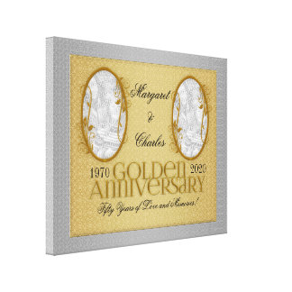 30x24 50th Golden Annivsersary Photo Collage Canvas Print