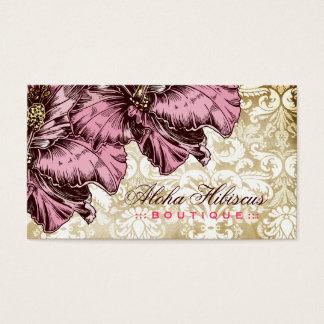 311-Aloha Hibiscus Vintage Damask Business Card