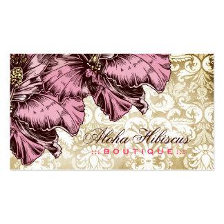 311-Aloha Hibiscus Vintage Damask Business Card Templates