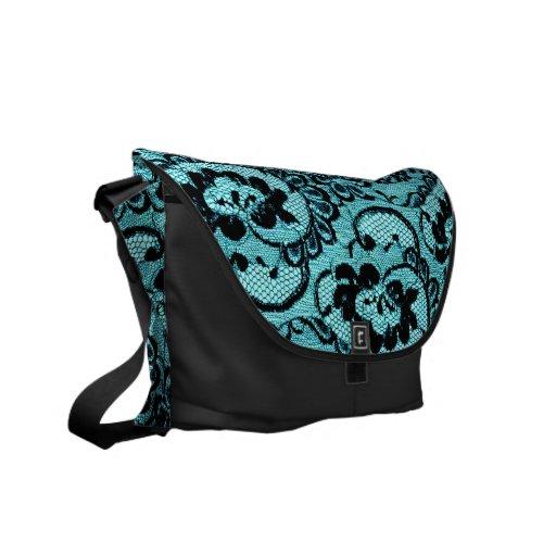 311 Aqua Lace (Faux Lace) Courier Bags