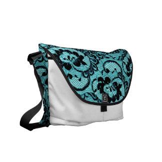 311 Aqua Lace White (Faux Lace) Courier Bags
