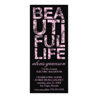"311 Beautiful Life Cancer Free Party 4"" X 9.25"" Invitation Card"